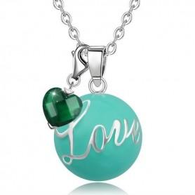 Collier bola de grossesse avec cœur émeraude et boule bleue love