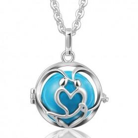 Collier bola de grossesse cœur avec boule bleue