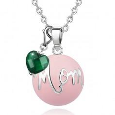 Collier bola de grossesse avec pendentif cœur vert et boule rose mom
