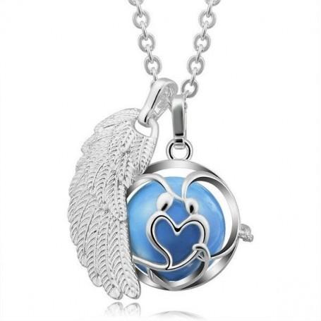 Collier bola de grossesse aile d'ange et cage motif cœur