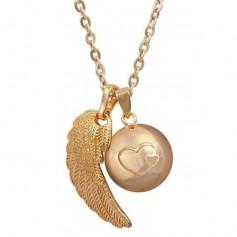 Collier bola de grossesse fleur aile d'ange et boule à motif cœurs
