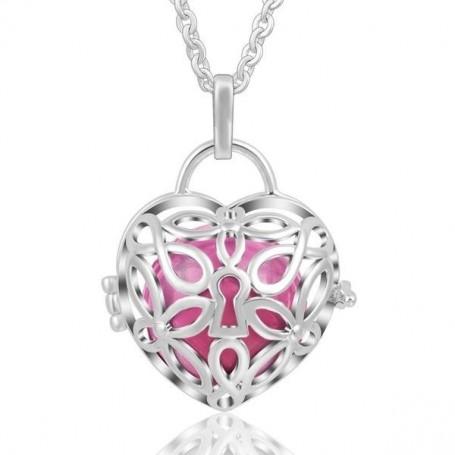 Collier bola de grossesse serrure coeur et boule rose