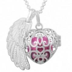Collier bola de grossesse cage en cœur avec boule rose et aile d'ange