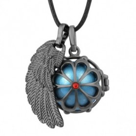Collier bola de grossesse anthracite fleur et aile d'ange boule bleue