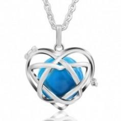 Collier bola de grossesse en forme de cœur boule bleue