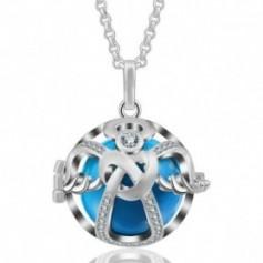 Collier bola de grossesse ange avec cristaux et boule bleue
