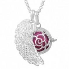 Collier bola de grossesse aile d'ange et bouton de rose avec boule rose