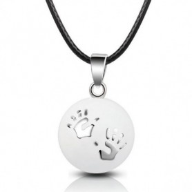 Collier bola de grossesse boule blanche empreintes petites mains