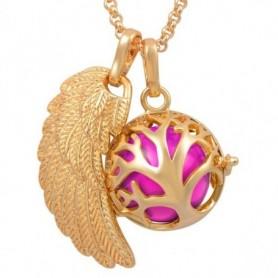 Collier bola de grossesse doré aile d'ange arbre généalogique boule rose