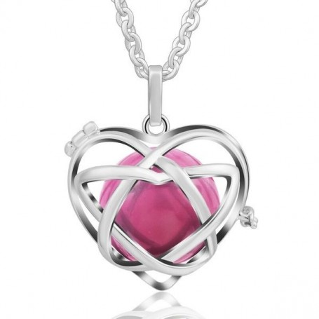 Collier bola de grossesse en forme de cœur boule rose