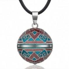 Collier bola de grossesse motif ethnique étoile bleu rouge