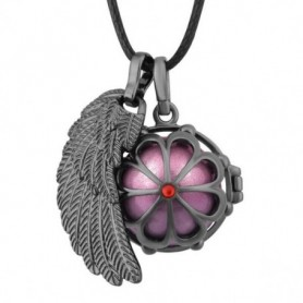 Collier bola de grossesse anthracite fleur et aile d'ange boule rose