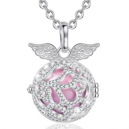 Collier bola de grossesse ailes d'anges cristaux boule rose