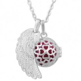 Collier bola de grossesse pendentif aile d'ange et trèfles boule rose