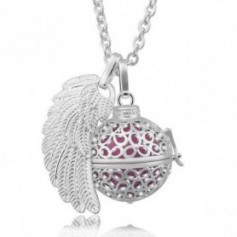 Collier bola de grossesse boule de fleurs aile d'ange et boule rose