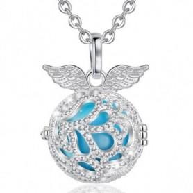 Collier bola de grossesse ailes d'anges cristaux boule bleue