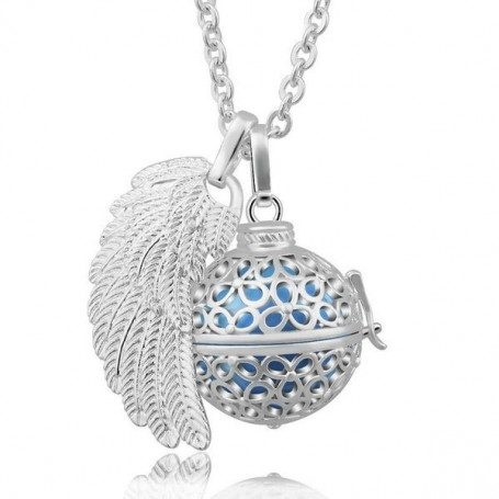 Collier bola de grossesse boule de fleurs aile d'ange et boule bleue