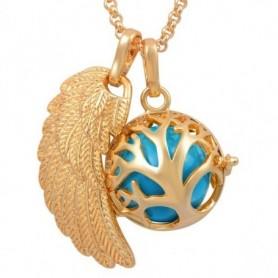 Collier bola de grossesse doré aile d'ange arbre généalogique boule bleue