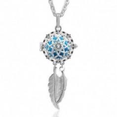 Collier bola de grossesse attrape-rêves fleur et cristaux carillon bleu