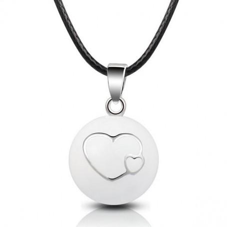 Collier bola de grossesse boule blanche et cœurs superposés