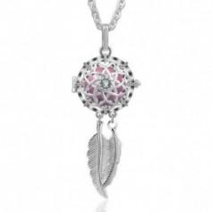 Collier bola de grossesse attrape-rêves fleur et cristaux carillon rose