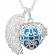 Collier bola de grossesse cage en cœur avec boule bleue et aile d'ange
