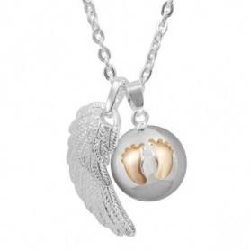 Collier bola de grossesse double pendentif aile d'ange et grelot empreintes