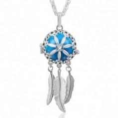 Collier bola de grossesse attrape-rêves fleur cristal boule bleue
