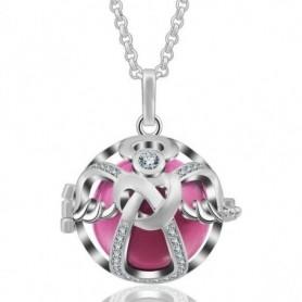 Collier bola de grossesse ange avec cristaux et boule rose