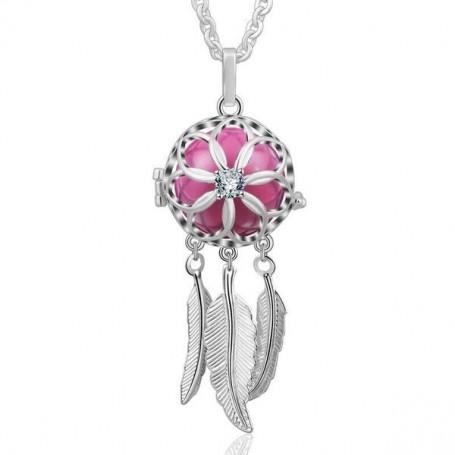 Collier bola de grossesse attrape-rêves fleur cristal boule rose
