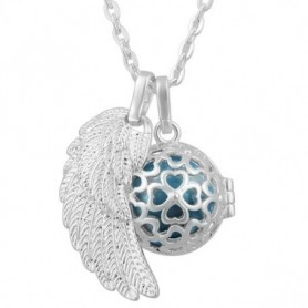 Collier bola de grossesse pendentif aile d'ange et trèfles boule bleue