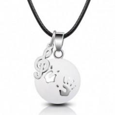 Collier Bola de grossesse double pendentif boule avec empreinte et clé de sol