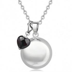 Collier bola de grossesse argenté double pendentif boule et cœur noir