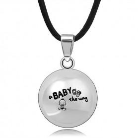 Collier bola de grossesse motif bébé, empreinte de pieds et inscription