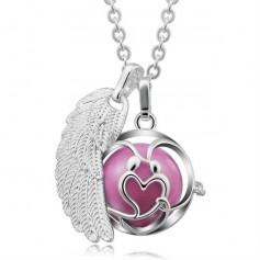 Collier bola de grossesse avec 2 pendentifs aile d'ange et cœur