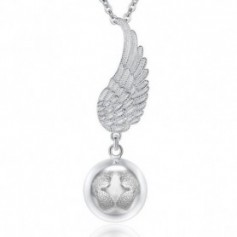 Bola de grossesse aile d'ange et boule avec empreinte de bébé argenté