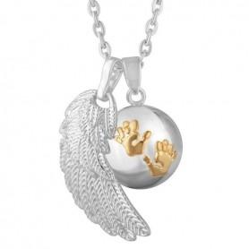 Collier bola de grossesse aile d'ange et boule avec empreinte de bébé