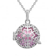 Collier bola de grossesse flocon de neige avec cristal boule rose