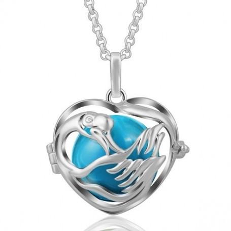 Collier bola de grossesse en forme de cygne avec boule bleue