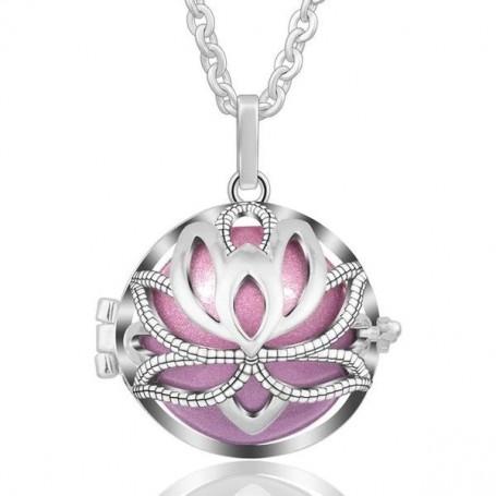 Collier bola de grossesse fleur de lotus avec boule violette
