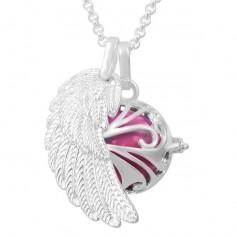 Collier bola de grossesse aile d'ange avec boule rose