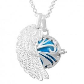 Collier bola de grossesse aile d'ange avec boule bleu turquoise