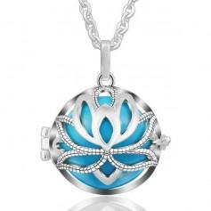 Collier bola de grossesse lotus avec boule bleue